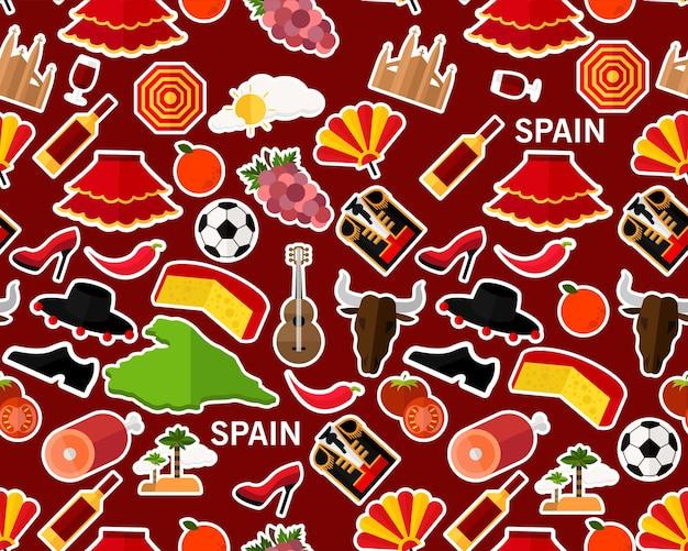 Vector flaches nahtloses beschaffenheitsmuster spanien