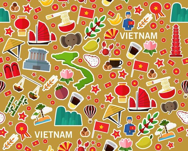 Vector flaches nahtloses beschaffenheitsmuster vietnam