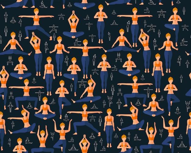 Vector flaches nahtloses beschaffenheitsmuster yoga-übungen.