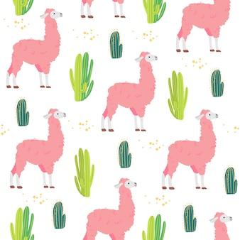 Vector flaches nahtloses muster mit niedlichen hand gezeichneten wüstenlamatieren und -kaktus lokalisiert auf weißem hintergrund. gut für verpackungspapier, karten, tapeten, geschenkanhänger, drucke, kinderzimmerdekoration usw.