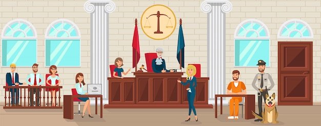 Vector flat lawyer schützt beschuldigte ist zeuge.