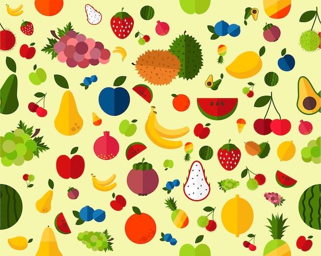 Vector frische frucht des flachen nahtlosen beschaffenheitsmusters.