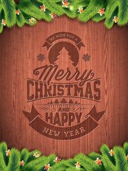 Vector frohe weihnacht-feiertag und guten rutsch ins neue jahr-illustration mit typografischem design und schneeflocken auf wintage hölzernem hintergrund.