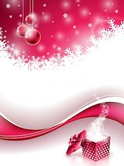 Vector frohe weihnachten und happy new year abbildung mit magischen geschenkbox