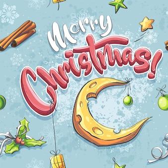Vector frohe weihnachtsillustration nahtlos mit einem käsemond, geschenk, stern, kugel