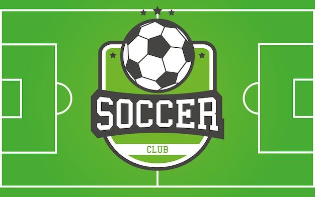 Vector fußballplatz und fußballfirmenzeichen für ihre liga, verein, team oder turnier.
