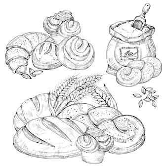 Vector gezeichnete elemente der bäckerei hand für menü, flieger, fahne,