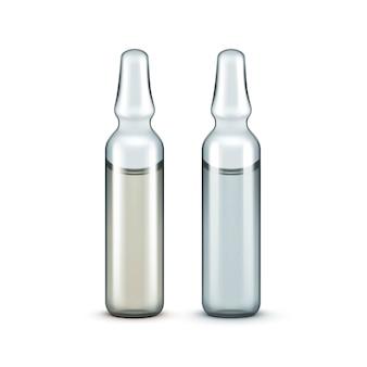 Vector glass medical ampullen flaschen isoliert