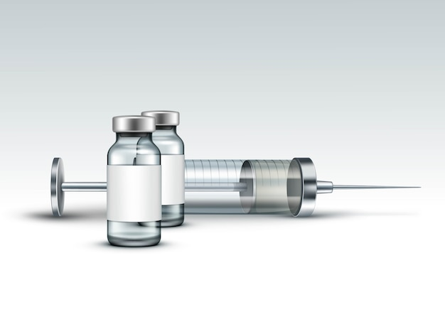 Vector glass medical spritze isoliert auf weiß