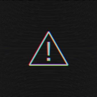 Vector glitched-aufmerksamkeitszeichen auf schwarzem hintergrund mit fernsehwässerungsgeräuschbeschaffenheit.