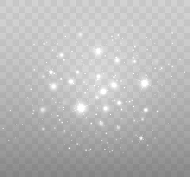 Vector glühende sterne glitzereffekt isoliert auf transparentem hintergrund magische lichter vektor...