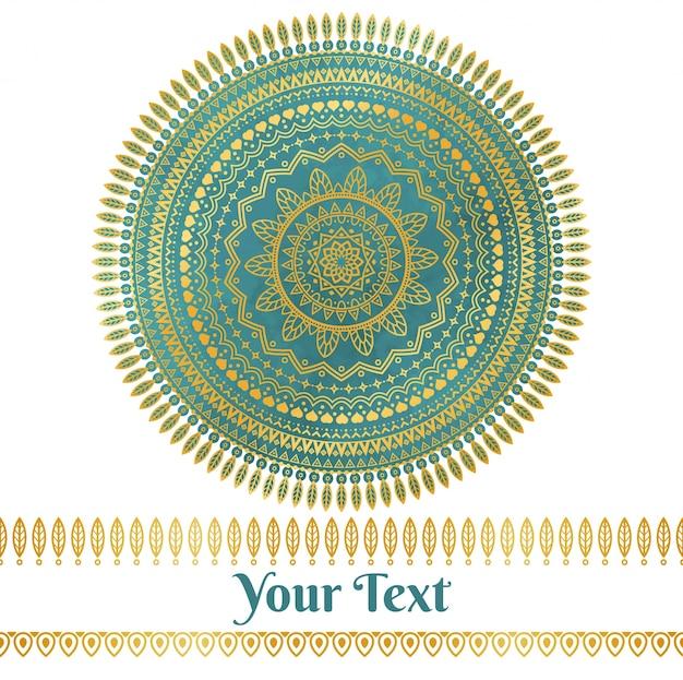 Vector golden und teal mandala hintergrund