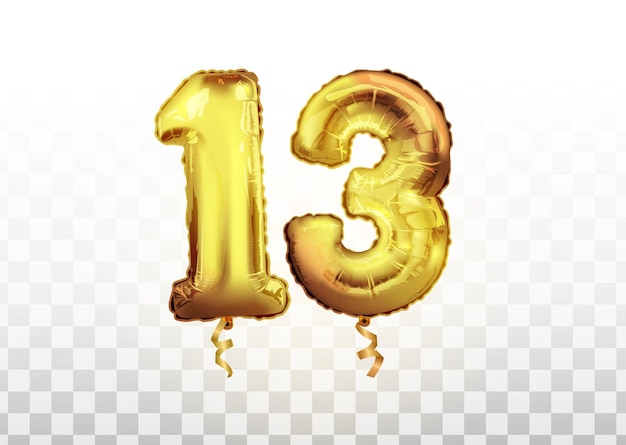 Vector goldene zahl 13 dreizehn aus aufblasbarem ballon isoliert auf weißem hintergrund. feiern des 13. geburtstags des geburtstagsvektors 3d illustration.