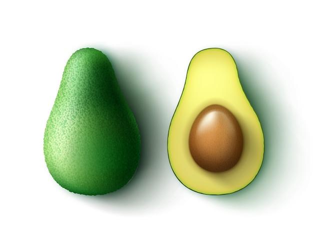 Vector grün frisch ganz und halb geschnittene avocado-draufsicht lokalisiert auf weißem hintergrund