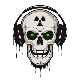 Vector grunge menschlicher schädel mit kopfhörern und strahlungszeichen.