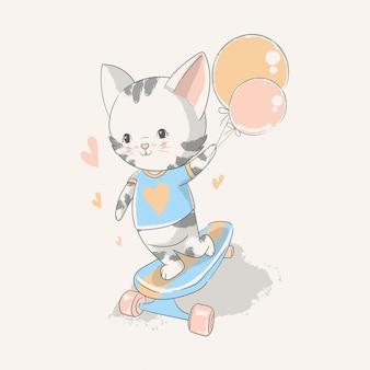 Vector hand gezeichnete illustration eines netten babykätzchens mit einem skateboard.