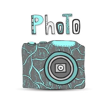 Vector hand gezeichnete illustration mit lokalisierten ikonen der fotokamera im retrostil. foto-studio-logo