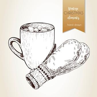 Vector hand gezeichnetes illustartion der kakaobecher und -handschuhe. vintage gravierten stil. weihnachtsdekoration.
