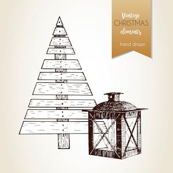 Vector hand gezeichnetes illustartion des sperrholztannenbaums und der laterne. vintage gravierten stil. weihnachtsdekoration.