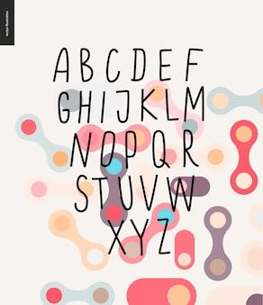 Vector handgeschriebenes lateinisches alphabet auf kopiertem hintergrund mit runden formen