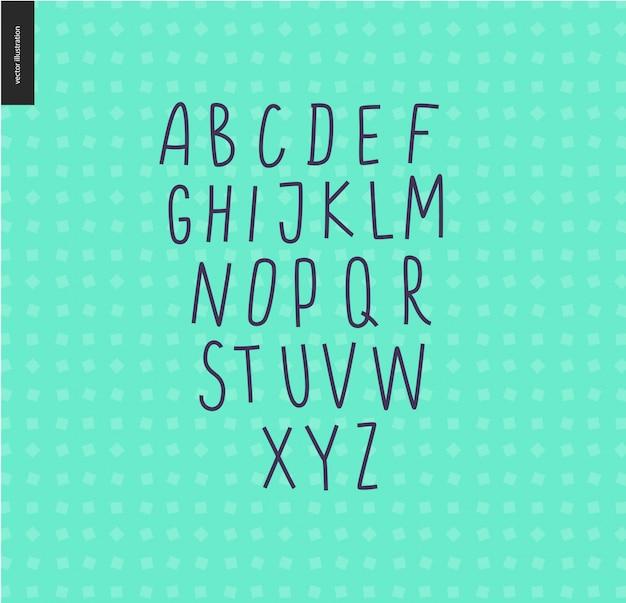 Vector handgeschriebenes lateinisches versalienalphabet auf dem tadellosen geometrischen musterhintergrund