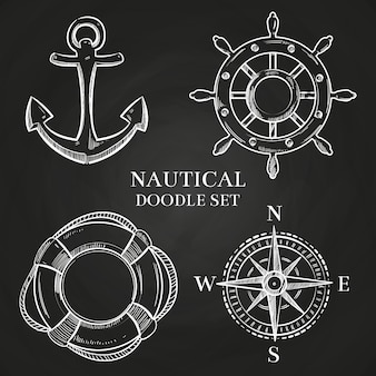 Vector handrad, anker, kompass und rettungsring