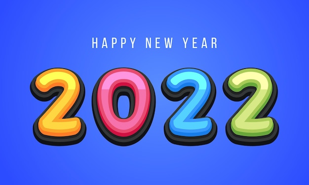 Vector happy new year 2022 süße grußkarte für kinder. lustige alphabet buchstaben, zahlen, symbole. mehrfarbige schriftart enthält grafikstil