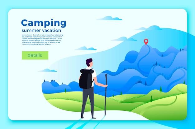 Vector helle campingfahnenschablone mit mann, der auf wald und bergen auf weichem hintergrund schaut, mit leistungspunkt.