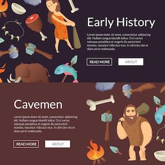 Vector höhlenbewohnerfahnen und plakatsteinzeitalterillustration