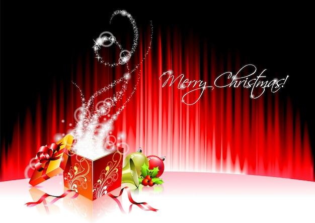Vector holiday illustration auf ein thema weihnachten mit magischen geschenk