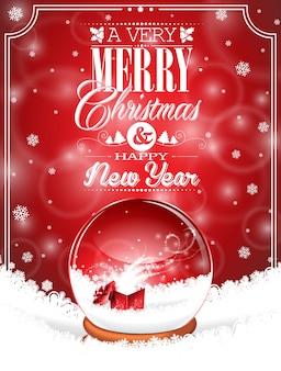 Vector holiday illustration auf ein thema weihnachten mit schneekugel gegen und magische geschenk-box auf rotem hintergrund