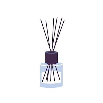 Vector illustration aromatherapie-schilfdiffusor mit bambusstöcken für haus lokalisiert auf whie hintergrund.