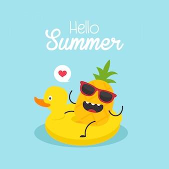 Vector illustration, aufblasbare ente mit einer ananas in einem swimmingpool