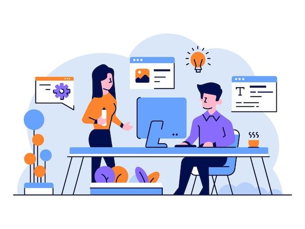 Vector illustration business content creator blog vlogger brainstorming idee flacher umriss designstil