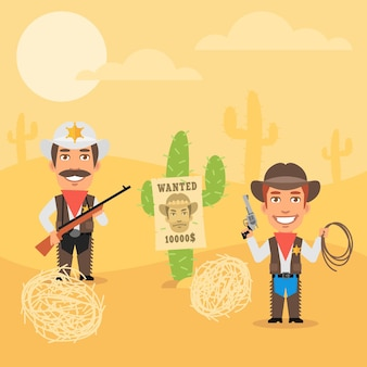 Vector illustration, cowboy sheriff und sein assistent in der wüste, format eps 10