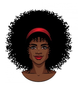 Vector illustration der afroamerikanerart das gesicht der frau mit dem gelockten haar. schönes mädchenporträt mit lächeln