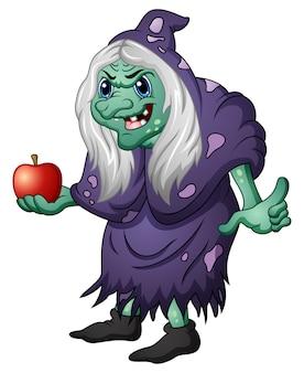 Vector illustration der alten bösen hexe, die einen apfel hält