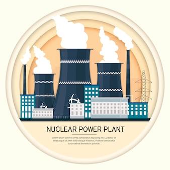 Vector illustration der atomkraftwerkfabrikikone mit städtischen stadtwolkenkratzerskylinen