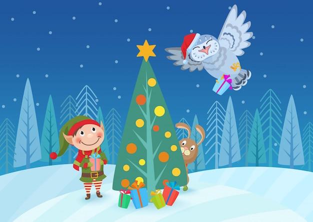 Vector illustration der entzückenden elfe und der tiere am weihnachtsbaum im wald.