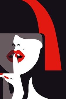 Vector illustration der frau mit glattem haar, das gesicht mit fingerhaltung vor sich bedeckt