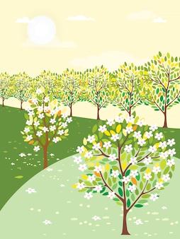 Vector illustration der frühlingslandschaft mit baum und weinlesefahrrad am sonnigen tag
