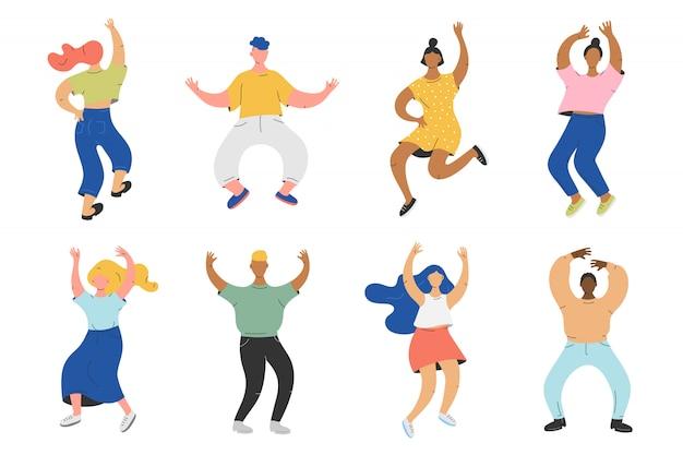 Vector illustration der gruppe von personen, die zur musik tanzt