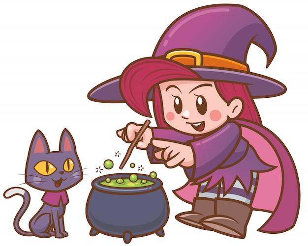 Vector illustration der karikatur-hexe und der schwarzen katze mit großem kessel