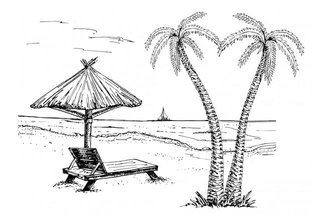 Vector illustration der küstenpromenade mit palmen, ruhesessel, regenschirm und yachten