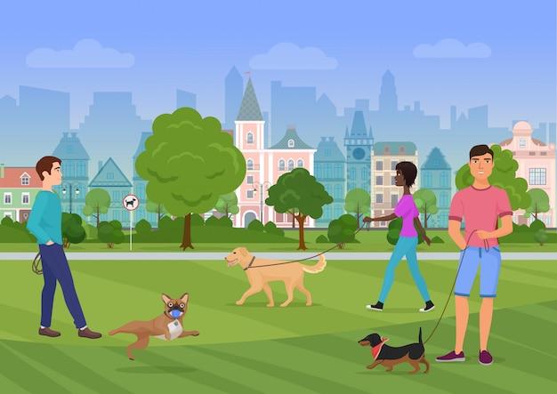Vector illustration der leute, die mit hunden im stadtpark gehen