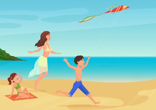 Vector illustration der mutter spaß mit kindern auf strand habend und mit drachen spielend.