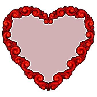 Vector illustration der roten herzform des weinlesedesigns auf lokalisiertem hintergrund für valentinstag.