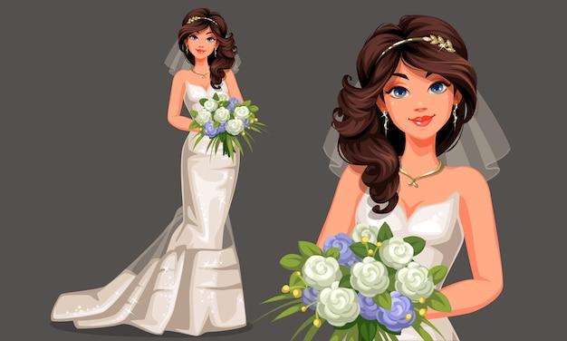 Vector illustration der schönen braut in einem schönen weißen hochzeitskleid, das blumenstrauß in stehender haltung hält