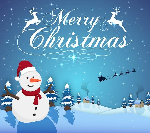 Vector illustration der typografie der frohen weihnachten auf blauem hintergrund mit schneemann