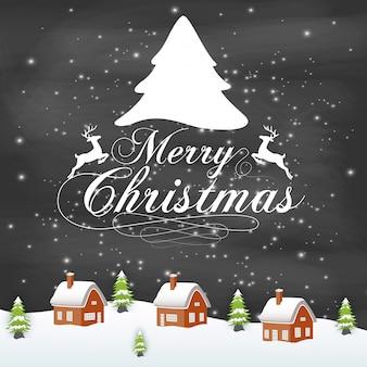 Vector illustration der typografie der frohen weihnachten auf tafelhintergrund mit haus